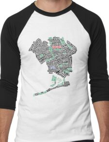 Queens New York Map Typography Men's Baseball ¾ T-Shirt