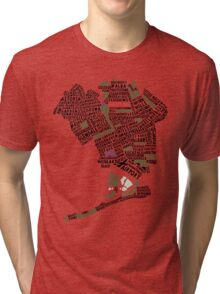 Queens New York Map Typography Tri-blend T-Shirt