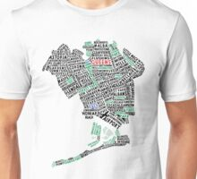 Queens New York Map Typography Unisex T-Shirt
