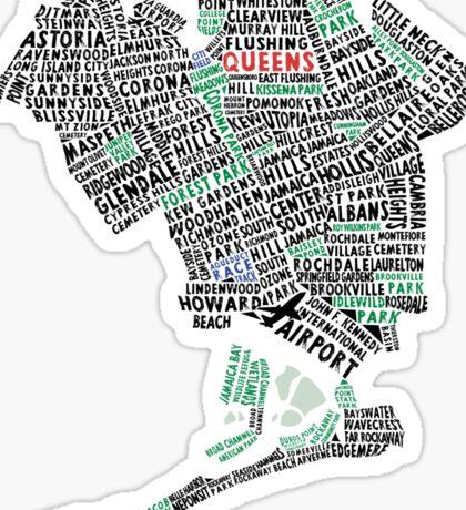 Queens New York Map Typography Sticker