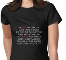Rum Poem Tee - Red and white writing Womens Fitted T-Shirt