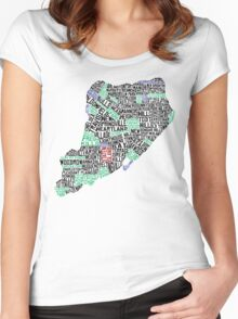 Staten Island Typographic Map Women's Fitted Scoop T-Shirt