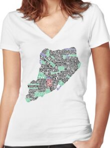 Staten Island Typographic Map Women's Fitted V-Neck T-Shirt