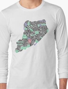 Staten Island Typographic Map Long Sleeve T-Shirt