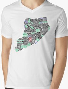 Staten Island Typographic Map Mens V-Neck T-Shirt