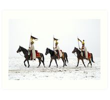 Three horse riders with war banners  Art Print