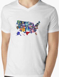 USA State Flags Map Mosaic Mens V-Neck T-Shirt