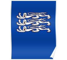 Three Lions, 3 LIONS, Royal Banner of England, UK, Britain, British, Knights, on ROYAL BLUE Poster