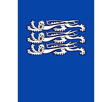 Three Lions, 3 LIONS, Royal Banner of England, UK, Britain, British, Knights, on ROYAL BLUE Photographic Print