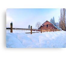 Barnyard in Winter Canvas Print