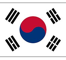 KOREA, KOREAN, South, Korean Flag, Flag of South Korea, Taegukgi, Taegeukgi, Pure & Simple, on White by TOM HILL - Designer
