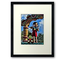PINOCCHIO AND JIMMY CRICKET (VERSION THREE)(A FAVORITE MEMORY OF MINE) PICTURES-CARDS-PILLOWS-TOTE BAGS-ECT.. Framed Print