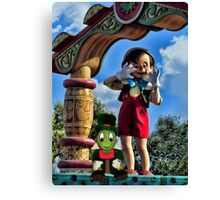 PINOCCHIO AND JIMMY CRICKET (VERSION THREE)(A FAVORITE MEMORY OF MINE) PICTURES-CARDS-PILLOWS-TOTE BAGS-ECT.. Canvas Print