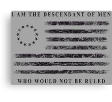 Descendant of Liberty - Flag (Black) Canvas Print