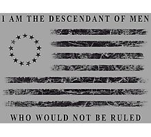 Descendant of Liberty - Flag (Black) Photographic Print