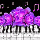 Piano Keyboard Purple Roses by dreamlyn