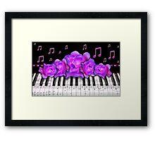 Piano Keyboard Purple Roses Framed Print