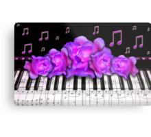 Piano Keyboard Purple Roses Metal Print