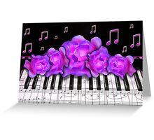 Piano Keyboard Purple Roses Greeting Card