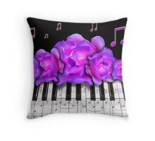 Piano Keyboard Purple Roses Throw Pillow
