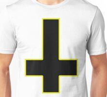 Upside Down Black Cross Gold Border Unisex T-Shirt