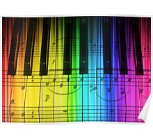 Colorful Piano Keyboard and Notes Poster