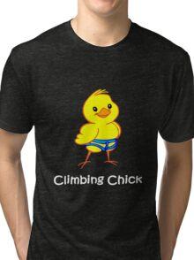 Climbing chick geek funny nerd Tri-blend T-Shirt