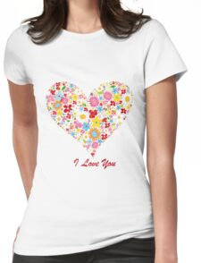 Cute Flowers Big Heart Womens Fitted T-Shirt