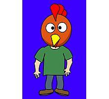 Crazy chicken dude cartoon graphic mens geek funny nerd Photographic Print