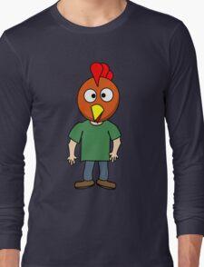 Crazy chicken dude cartoon graphic mens geek funny nerd Long Sleeve T-Shirt