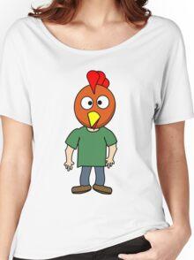 Crazy chicken dude cartoon graphic mens geek funny nerd Women's Relaxed Fit T-Shirt