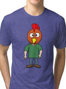 Crazy chicken dude cartoon graphic mens geek funny nerd Tri-blend T-Shirt