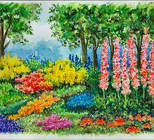 THE KEUKENHOF IN 2009 - WATERCOLOR PAINTING by RainbowArt