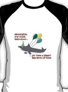 Grandson big shark bite happy birthday geek funny nerd T-Shirt