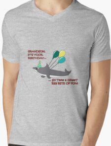 Grandson big shark bite happy birthday geek funny nerd Mens V-Neck T-Shirt