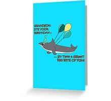 Grandson big shark bite happy birthday geek funny nerd Greeting Card