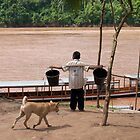 Boy and dog on the banks of the Mekong River, Laos by Paris Franz