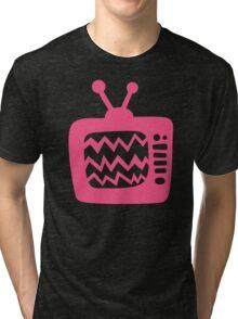 Vintage Pink Cartoon TV Tri-blend T-Shirt