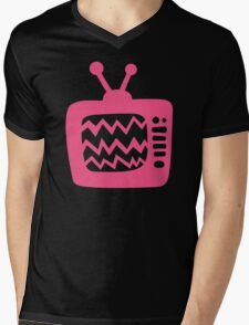 Vintage Pink Cartoon TV Mens V-Neck T-Shirt
