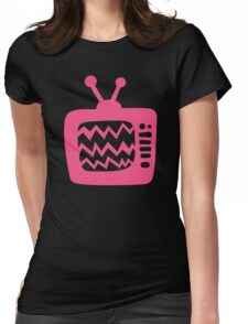 Vintage Pink Cartoon TV Womens Fitted T-Shirt