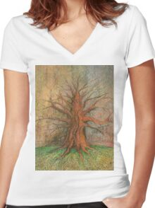 Old Tree Women's Fitted V-Neck T-Shirt