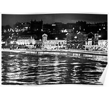 Scarborough Sea Front night Shot (B&W) Poster