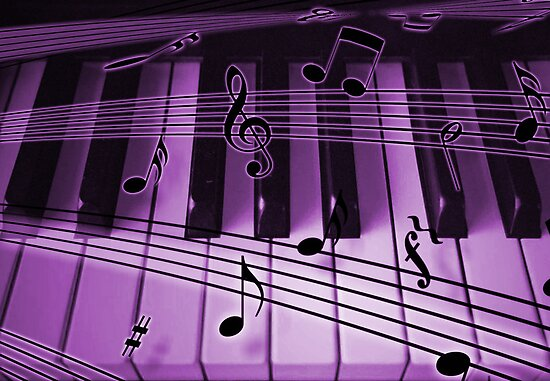 Quot Purple Piano Keyboard And Notes Quot By Dreamlyn Redbubble