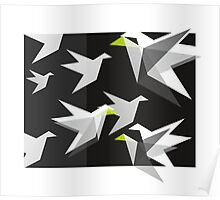 Black and White Paper Cranes Poster