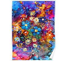 Vibrant abstract flowers painting Poster