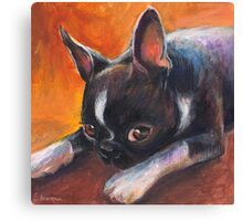 Whimsical Boston Terrier dog painting Canvas Print