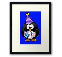 Personalized birthday card penguin geek funny nerd Framed Print