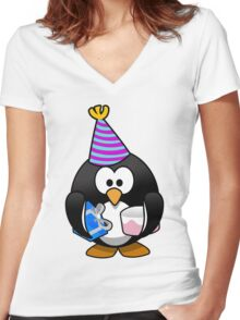 Personalized birthday card penguin geek funny nerd Women's Fitted V-Neck T-Shirt