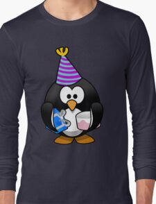 Personalized birthday card penguin geek funny nerd Long Sleeve T-Shirt