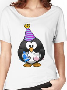 Personalized birthday card penguin geek funny nerd Women's Relaxed Fit T-Shirt